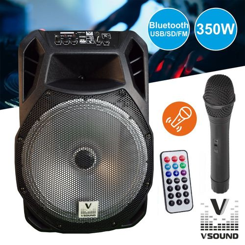 "Coluna Amplificada 15"" FM/USB/BT/SD/BAT LED MIC VSOUND"