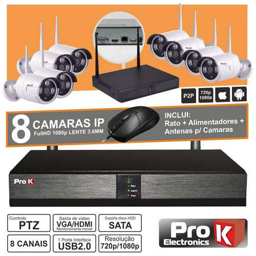 Vídeo-Gravador Digital Ip 8 Canais Wireless Ip66 PROK
